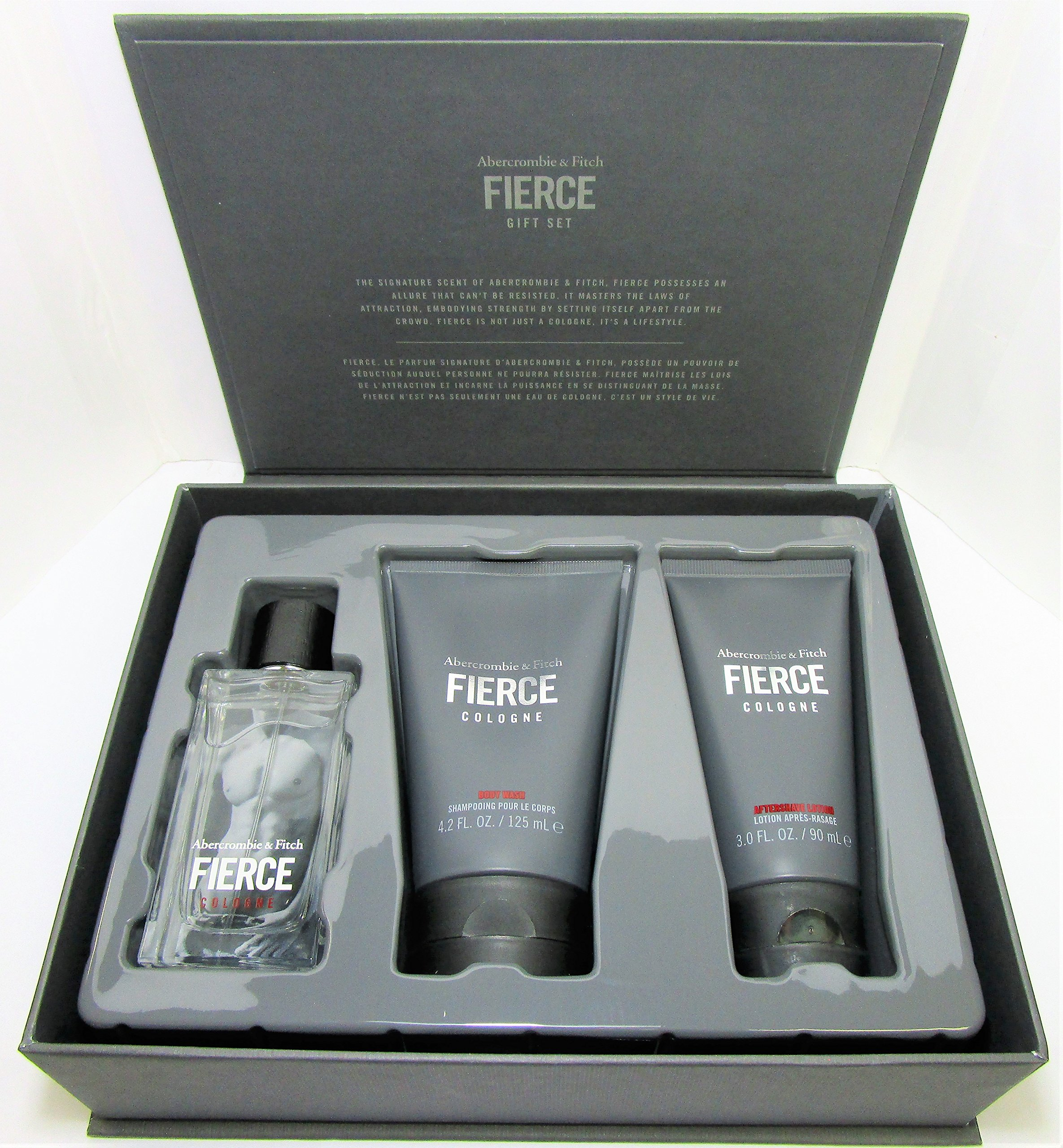 Abercrombie & Fitch Fierce Eau de Cologne 3 Piece Gift Set for Men 1.7 oz Cologne, 4.2 oz Body Wash, 3.0 oz Aftershave Lotion