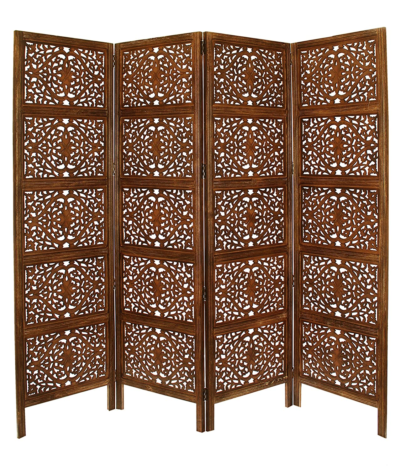 Ghanti Bells - Antique Brown 4 Panel Handcrafted Wood Room Divider Screen 72x80 - With Tiny Bells - Intricately Carved On Both Sides - Reversible - Hides clutter, Adds Décor, and Divides the Room Adds Décor Orient Originals Inc. 20124