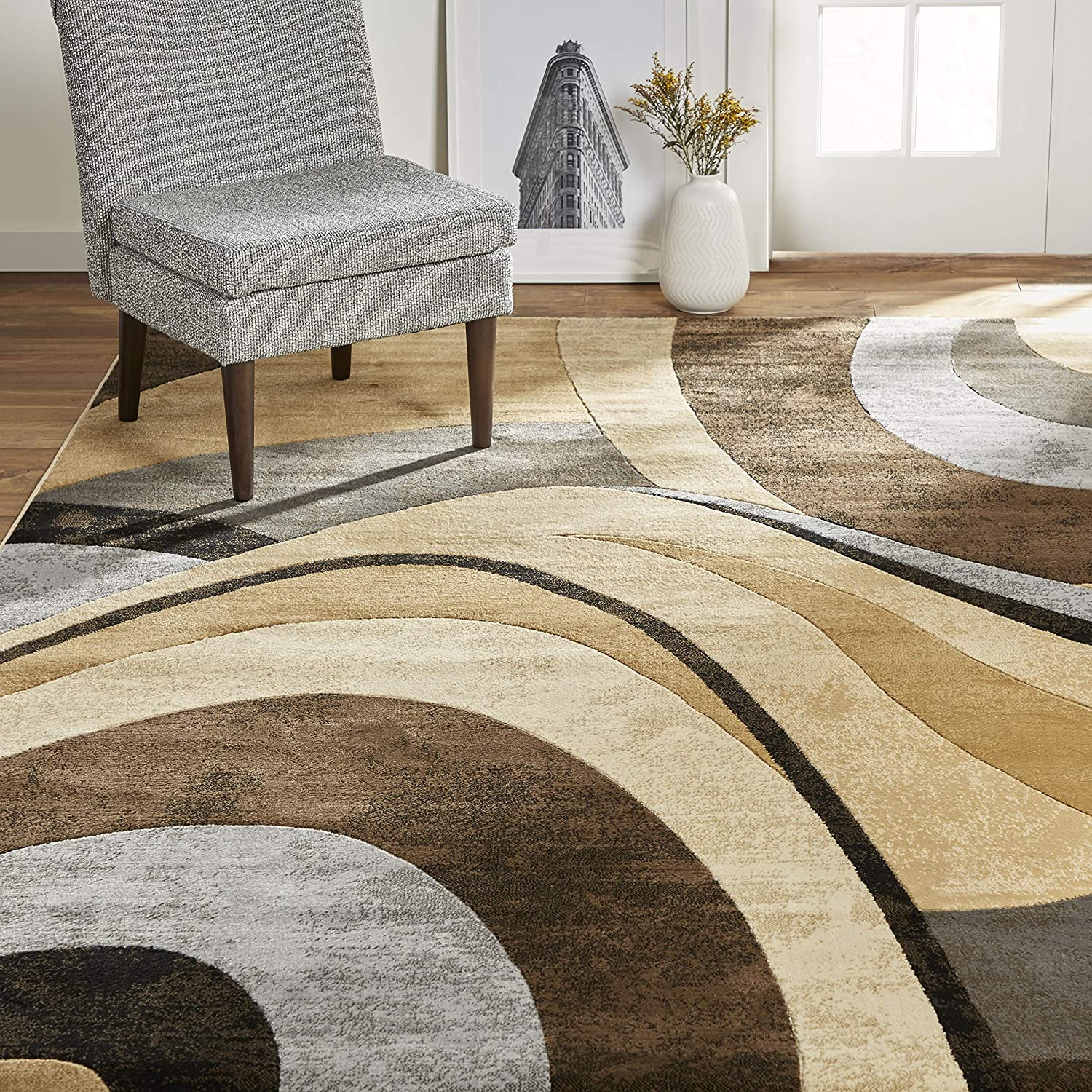 "Home Dynamix Tribeca Slade Modern Area Rug ,Abstract Brown/Gray 5'2""x7'2"""