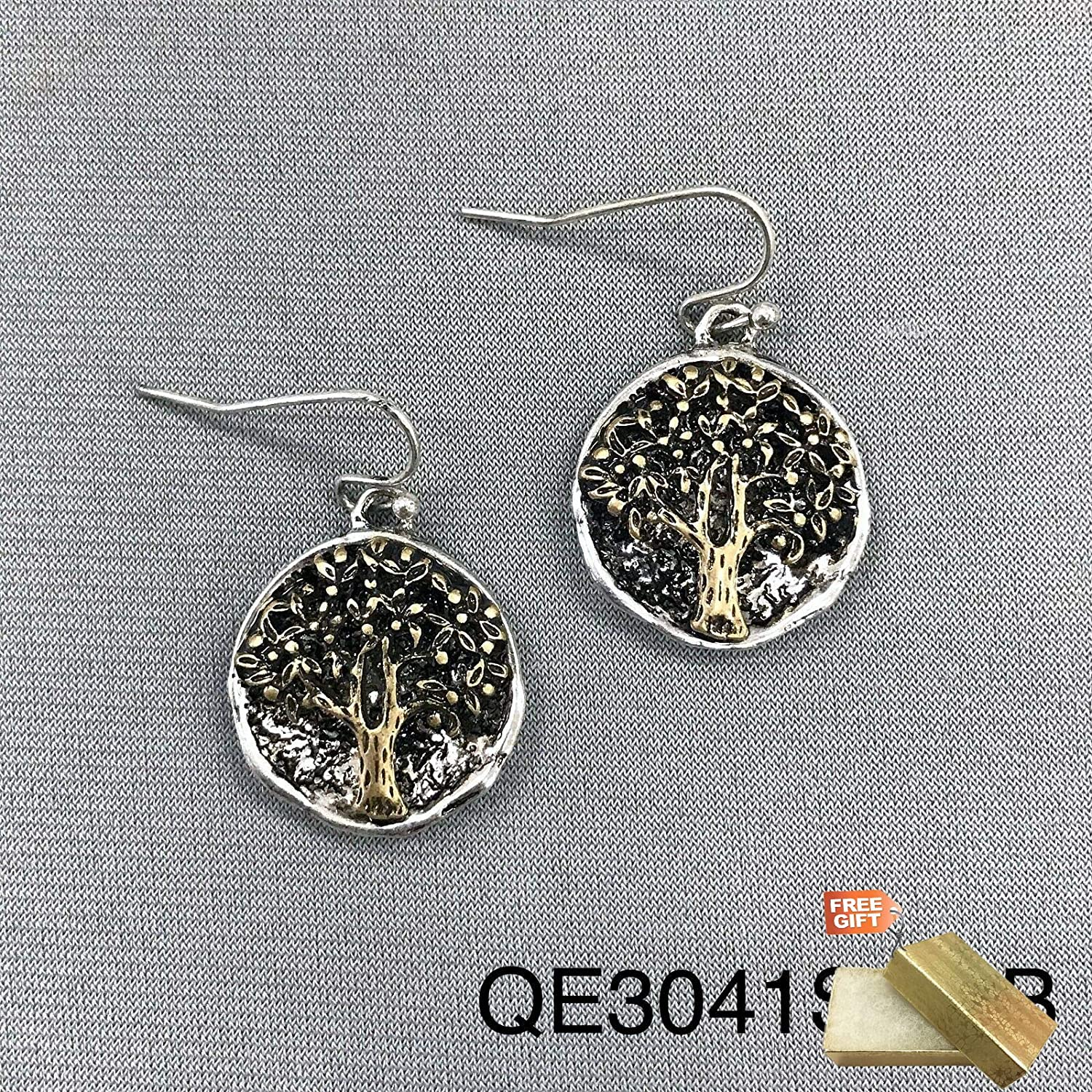 8c90e1962 Amazon.com: Bohemian Silver Tone Finish Gold Tree of Life Design Round Coin  Dangle Earrings For Women Set + Gold Cotton Filled Gift Box: Beauty