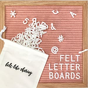Coral Felt Letter Board 10x10 Inches. Changeable Letter Boards Include 300 White Plastic Letters and Oak Frame.