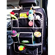 OneTily Premium Leather Car Back Seat Organizer | Kick Mat Auto Seat Back Protector | Eco friendly Portable Travel |Gift for Parents,Mom,Kids| Nursery Hanging Baby Kids Toy Storage| No Animals Harmed|