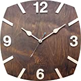 B SQUARE BSWCO50DW Handcrafted Wooden Wall Clock, 12-Inch, Dark Walnut