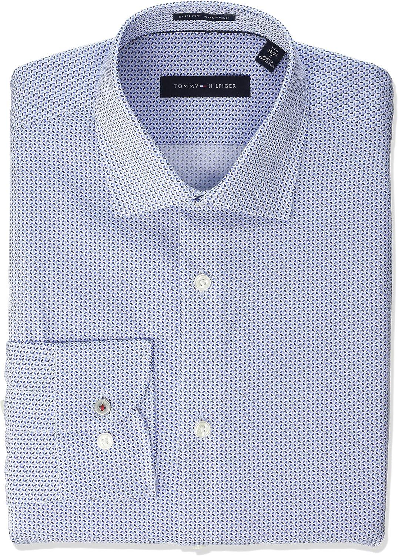 Tommy Hilfiger Dress Shirts Non Iron Slim Fit Print Camisa de Vestir, Azul/Multicolor, M/39.37 cm Cuello 86.36/88.9 cm Manga para Hombre: Amazon.es: Ropa y accesorios