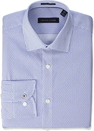 Tommy Hilfiger Dress Shirts Non Iron Slim Fit Print Camisa de Vestir para Hombre