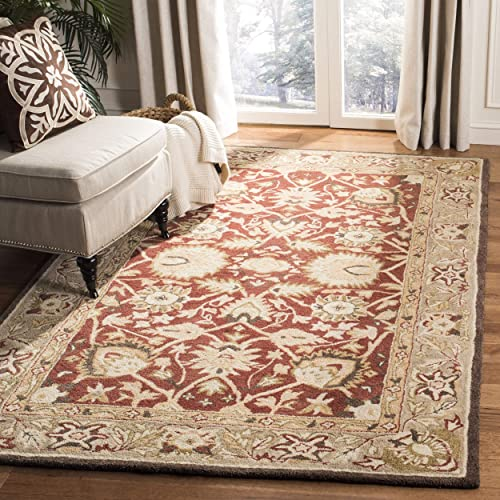 Safavieh Anatolia Collection AN512G Handmade Traditional Oriental Rust and Green Premium Wool Area Rug 5' x 8'