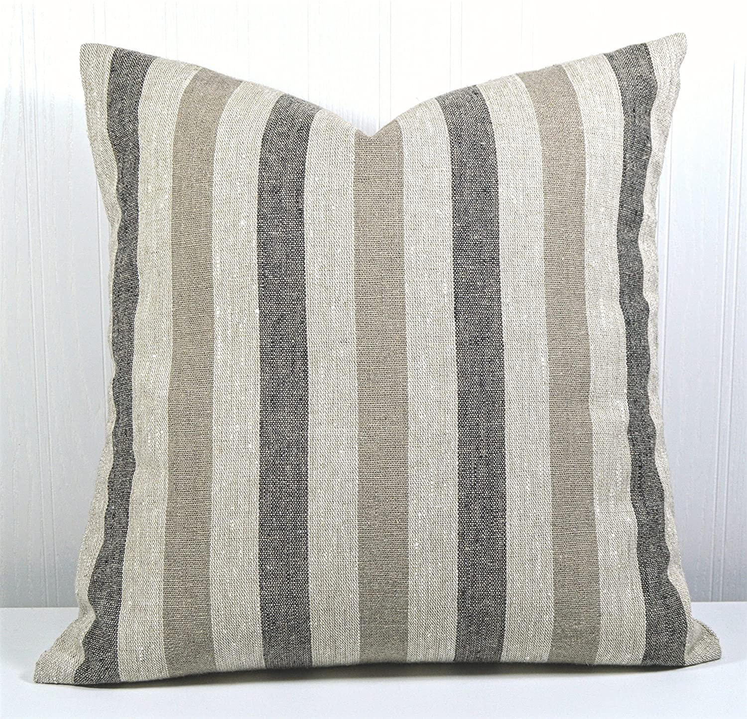 Pillow Cover 18x18 Farmhouse Linen Natural, Black and Tan Stripes
