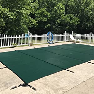 WaterWarden Inground Pool Safety Cover, Fits 18' x 36', Green Mesh – Easy Installation, Triple Stitched for Max Strength, Includes All Needed Hardware, SCMG1836, Rectangle