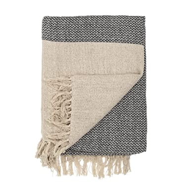 Bloomingville A14208833 Grey & Cream Cotton Knit Throw with Fringe
