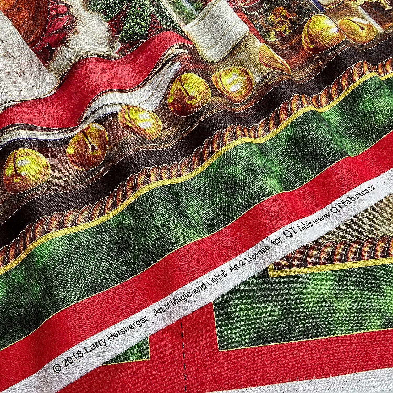 "QT Fabrics Santa/'s List by Larry Hersberger 27260 X 36/"" Santa Panel Cotton"