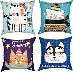 YOUR SMILE Set of 4 Kid's Series Cute Cartoon Animal Cat/Dog/Bear Cotton Linen Sofa Home Decor Design Throw Pillow Case Cushion Covers Square 18x18 inch