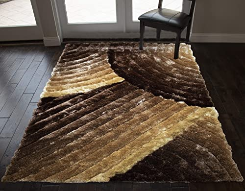 8x10 Feet Brown Beige Colors Large Shag Shaggy 3D Fuzzy Furry Area Rug Carpet Rug Bedroom Living Room Decorative Designer Modern Contemporary Soft Plush Pile Canvas Non Slip Backing Quality