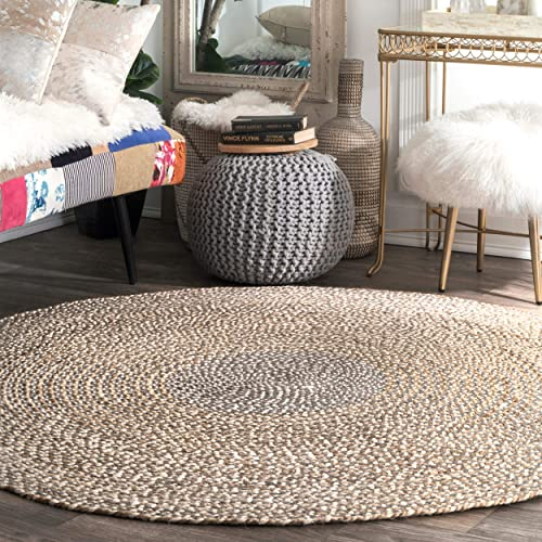 nuLOOM Draya Braided Wool Rug, 8 Round, Grey
