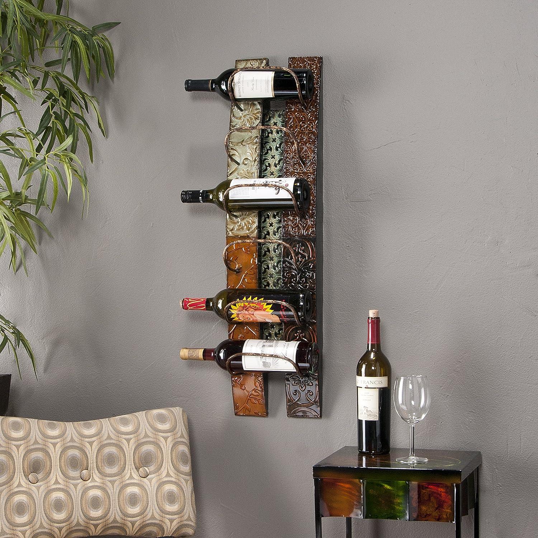 Metal  Wine Bottle Wall Rack Storage - Holds 6 Bottles