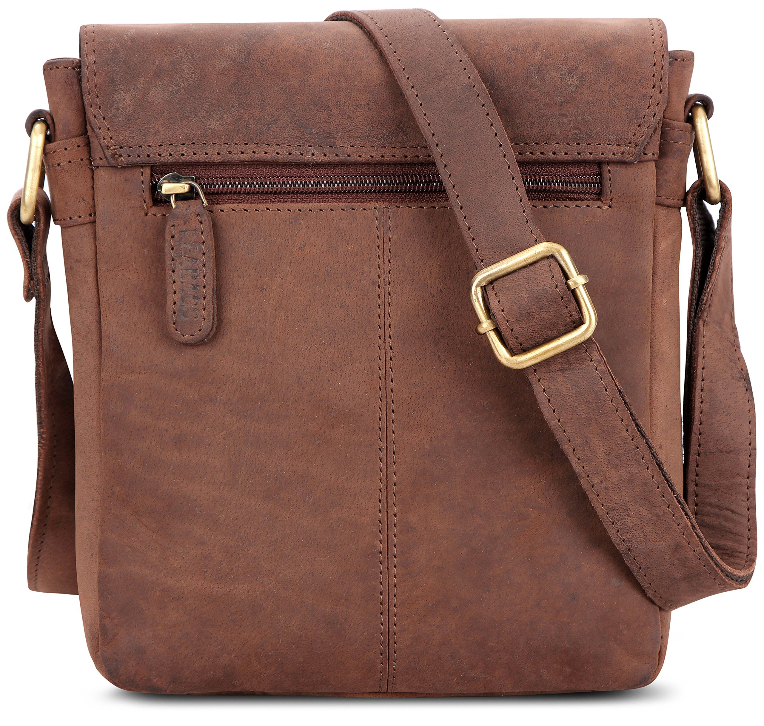 LEABAGS Weston genuine buffalo leather city bag in vintage style - Nutmeg by LEABAGS (Image #3)