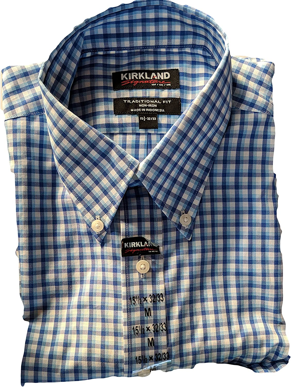 Kirkland Signature Hombre Non Iron botón Abajo Camisa sólida Azul: Amazon.es: Ropa y accesorios