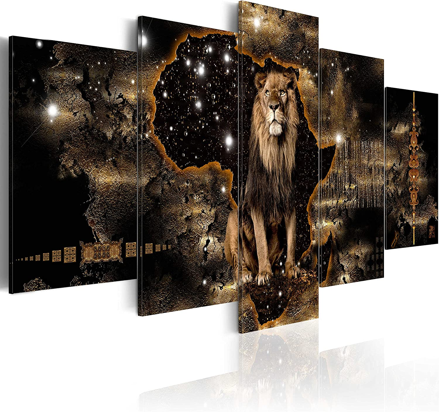 "artgeist Canvas Wall Art Print Africa 39.37""x19.68"" 5pcs Home Decor Framed Stretched Picture Photo Painting Artwork Image g-A-0011-b-o"