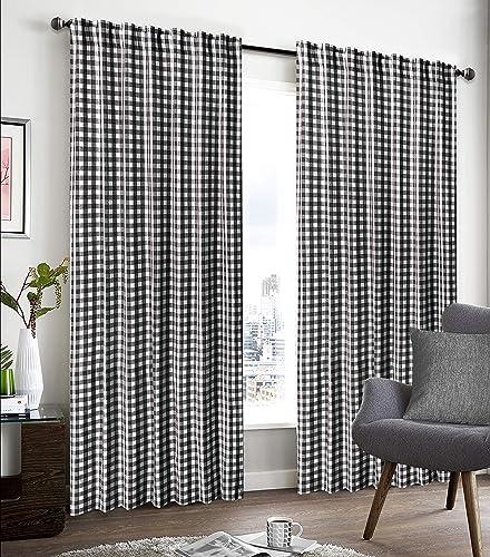 GLAMBURG 2 Pack 100 Cotton Window Curtain Panel 50 X108 Gingham Check Plaid Farmhouse Style Tab Top Curtains Black