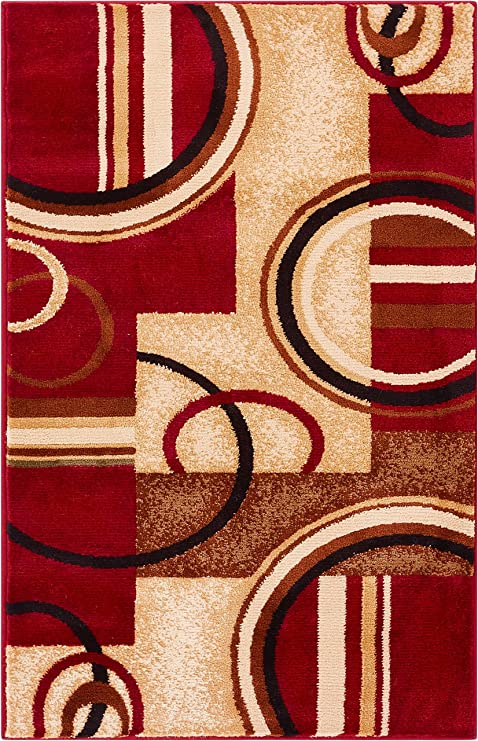 Well Woven Barclay Arcs Shapes Red Modern Geometric Area Rug 23quot