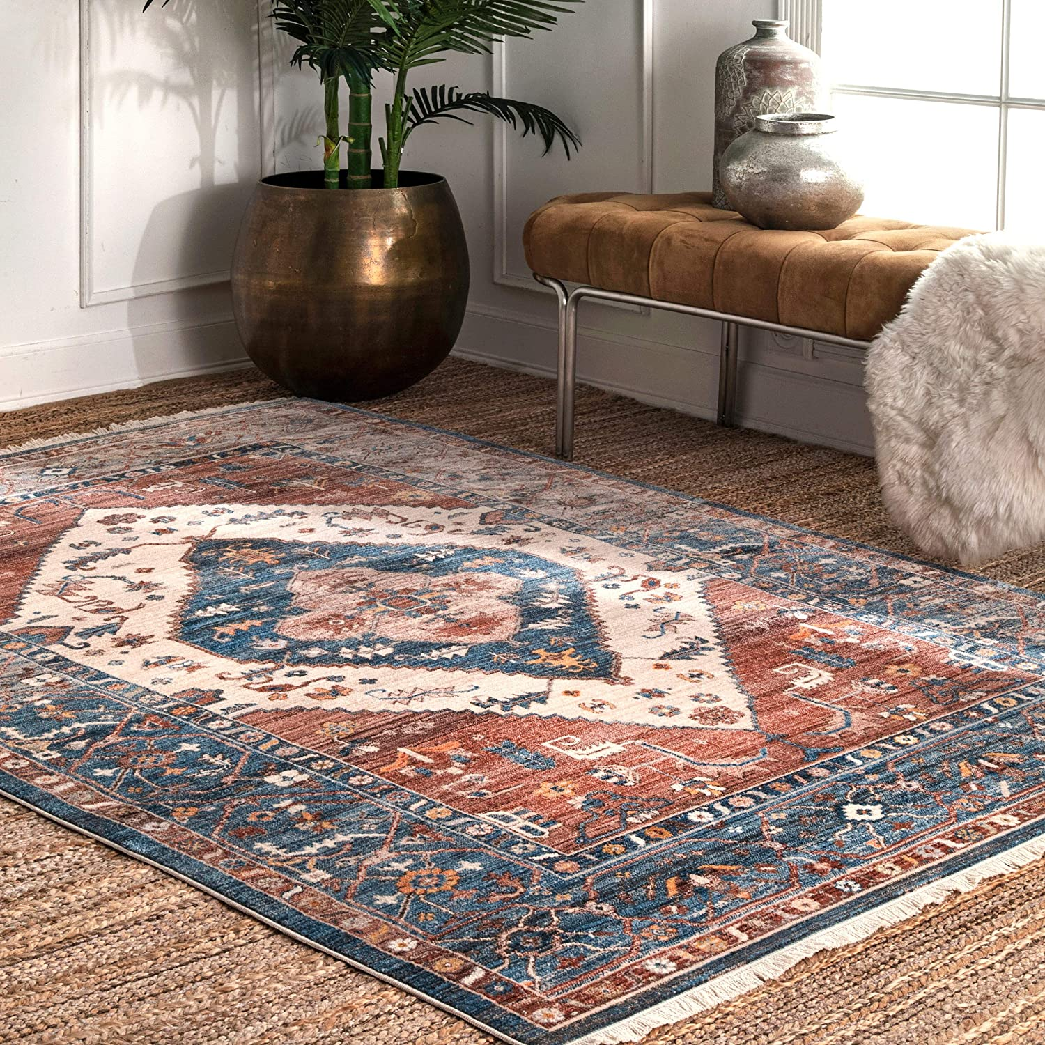 Amazon Com Nuloom Mabel Tribal Area Rug 5 X 7 9 Rust Furniture Decor