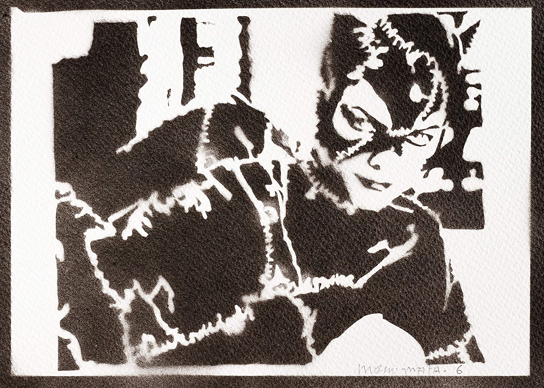 Catwoman Graffiti Handgemacht (Wandbild 23×32,5cm)
