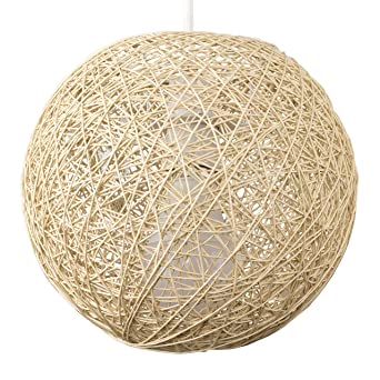 MiniSun Abat Jour Moderne pour Suspension. Ballon de 20 cm en Osier ...