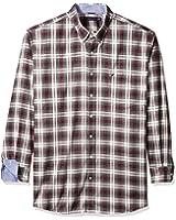 Nautica Men's Big and Tall Wrinkle Resistant Whitecap Plaid Shirt