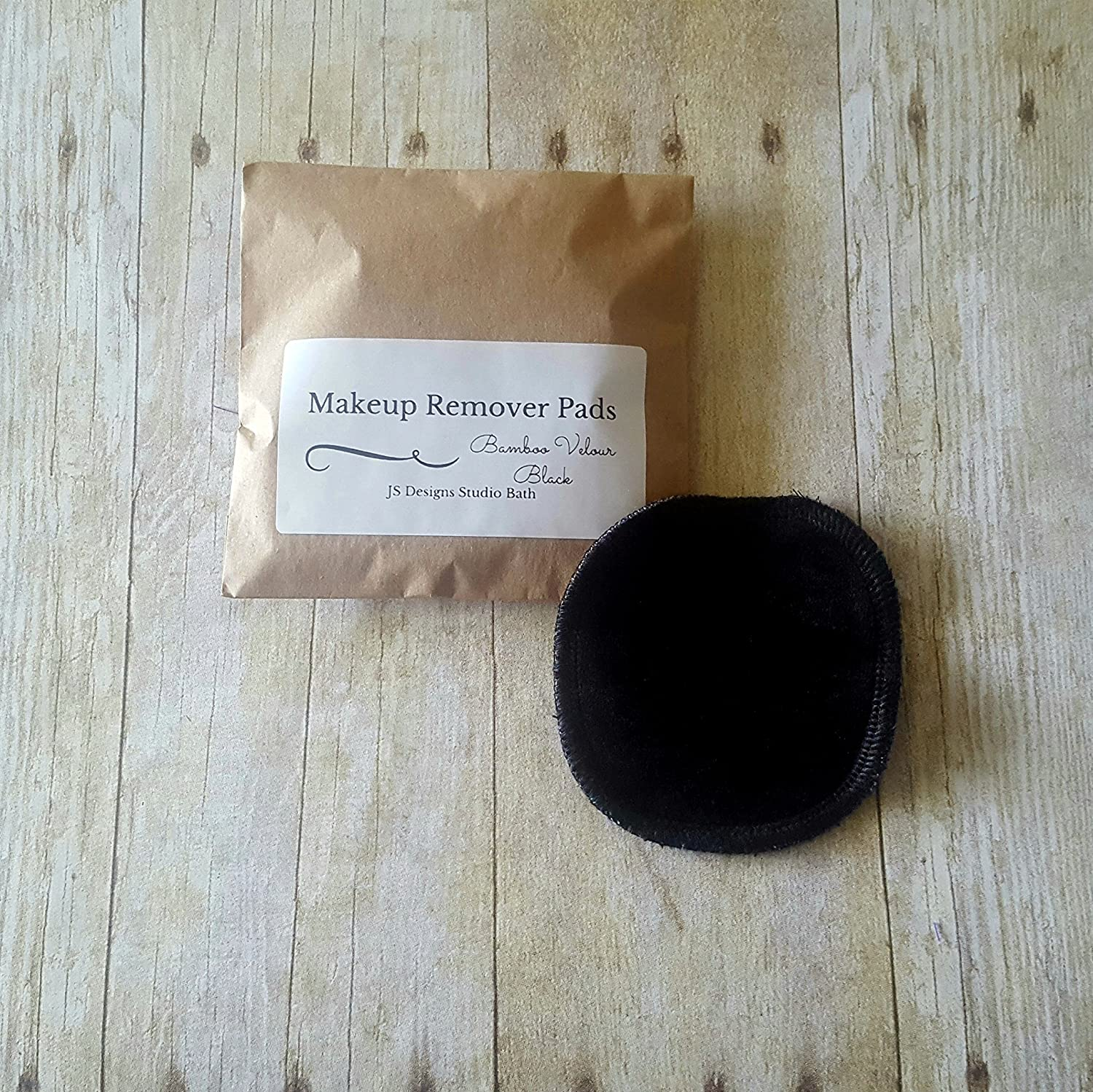 Black Bamboo Velour Reusable Makeup Remover Pads - Set of 5