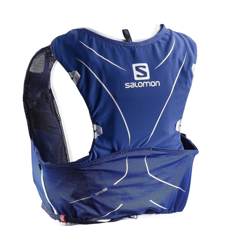 Salomon Mochila ligera para running, senderismo o ciclismo, 5 L, 36 x 20 cm, 310 g, ADV SKIN 5 SET, Talla: XS/S, Azul, L40139500
