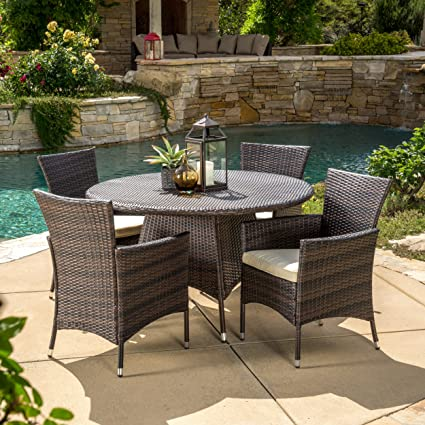 Great Deal Furniture Clementine Outdoor 5pc Multibrown Wicker Dining Set