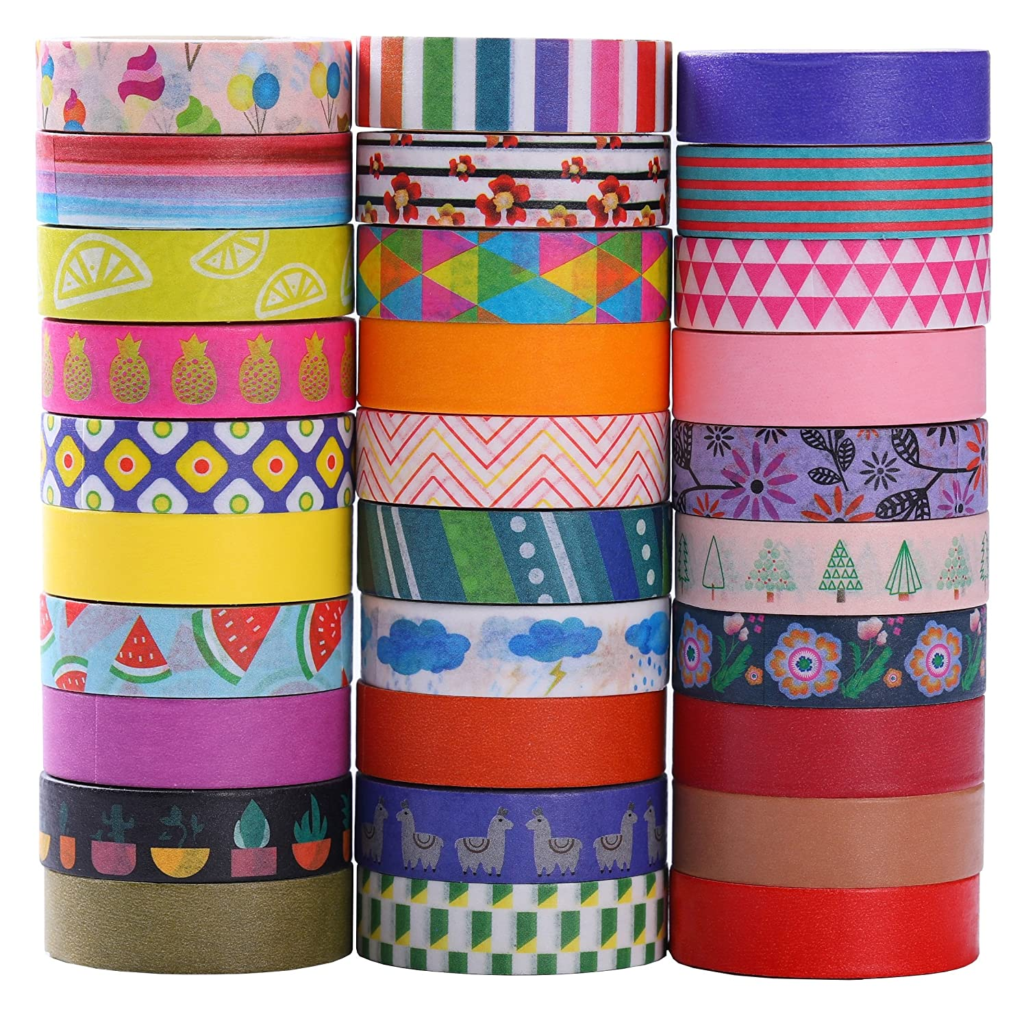 30 Rolls Washi Tape Set - 10mm Wide, Colorful Flower Style Design, Decorative Masking Tape for DIY Craft Scrapbooking Gift Wrapping Hoomn