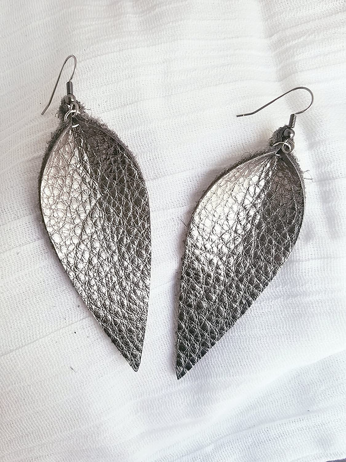 Silver Metallic/Leather Earrings/FREE SHIPPING/Joanna Gaines/Zia/Statement/Leaf/Large/3.25