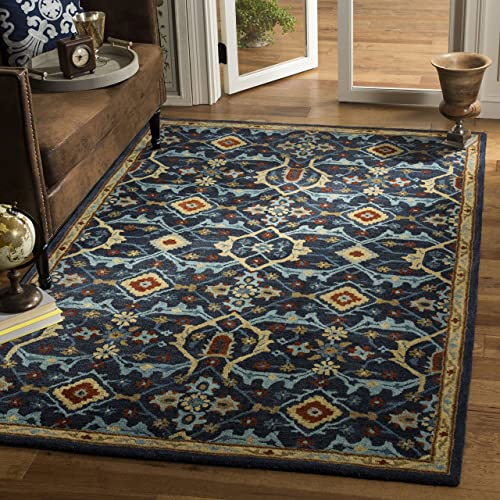 Safavieh Heritage Collection Navy and Multi Premium Wool Area Rug