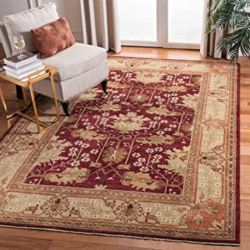 Amazon Com Safavieh Oushak Collection Osh108a Hand Knotted Traditional Oriental Premium Wool Area Rug 6 X 9 Red Green Furniture Decor
