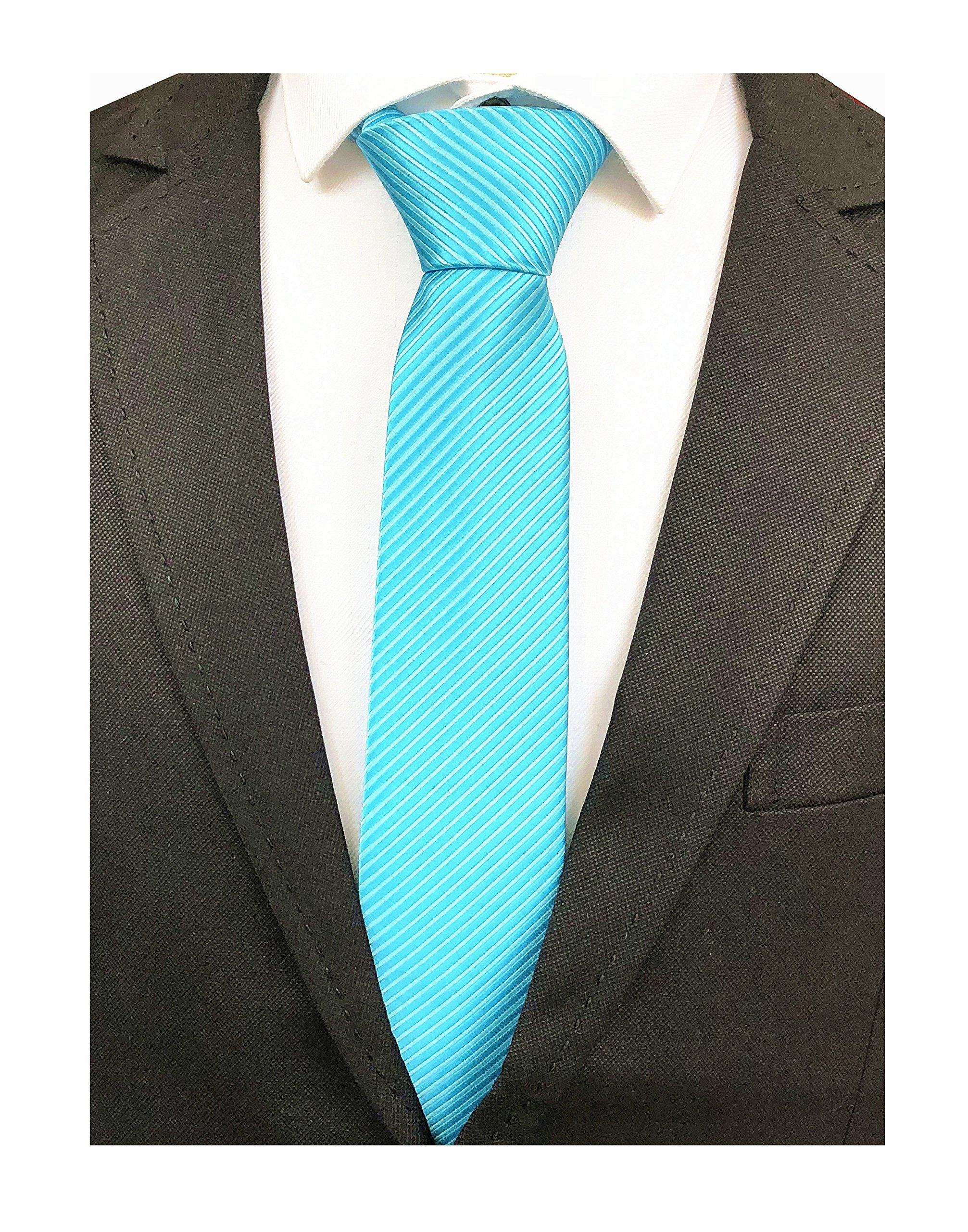 Men Holiday Teal Cyan Blue Silk Tie Valentine's day Necktie for Summer Weddings