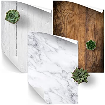 Fondo para fotografía en vinilo, paquete de 3 para fotografía de productos y alimentos - Madera natural, madera blanca y mármol blanco - Tamaño A1