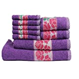 Trident 425 GSM Floral Collection 9 Pcs Towel set, Purple (Bath,Hand & Face Towel Set) - Purple & Pink