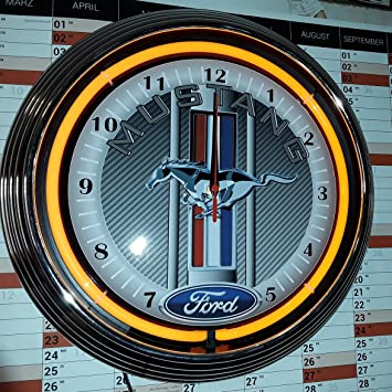 Neonuhr Neon Clock Ford Mustang Racing Carbon Design Wanduhr