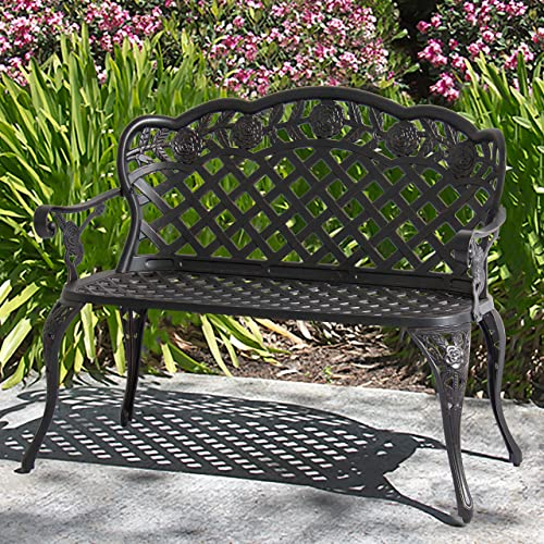 Best Choice Products 2-Person Aluminum Garden Bench Patio Furniture w/Rose Detail Lattice Backrest and Seat