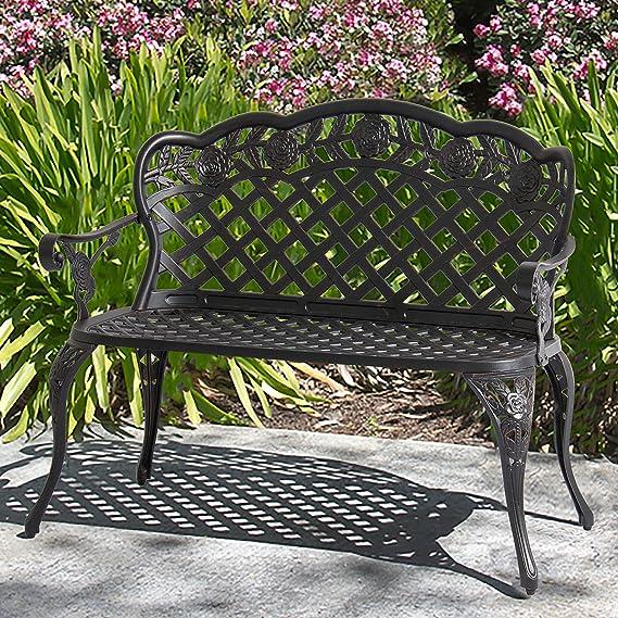 Best Choice Products 2 Person Aluminum Garden Bench Patio Furniture W Rose Detail Lattice Backrest And Seat Bronze Cast Iron Bench Garden Outdoor Amazon Com