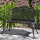 Best Choice Products 2-Person Aluminum Garden Bench Patio Furniture w/Rose Detail Lattice Backrest and Seat, Bronze