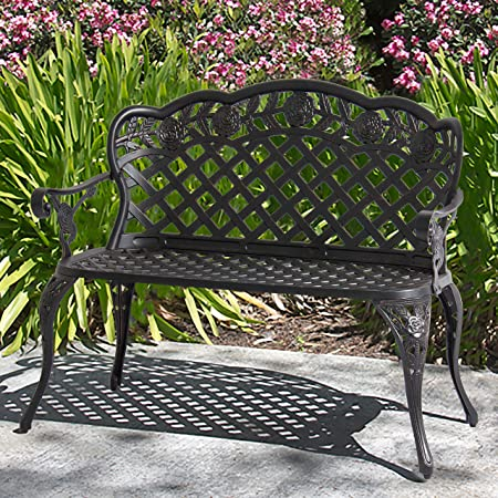 Best Choice Products Aluminum 2-Person Bench D cor Furniture for Patio, Garden, Yard w Lattice Backrest and Seat, Rose Detailing – Bronze