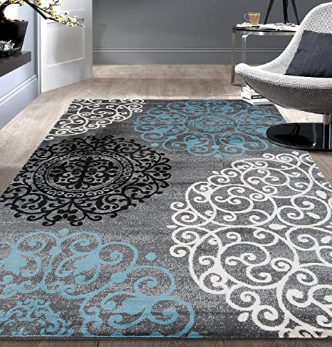 Contemporary Modern Floral Gray 5 3 x 7 3 Indoor Soft Area Rug