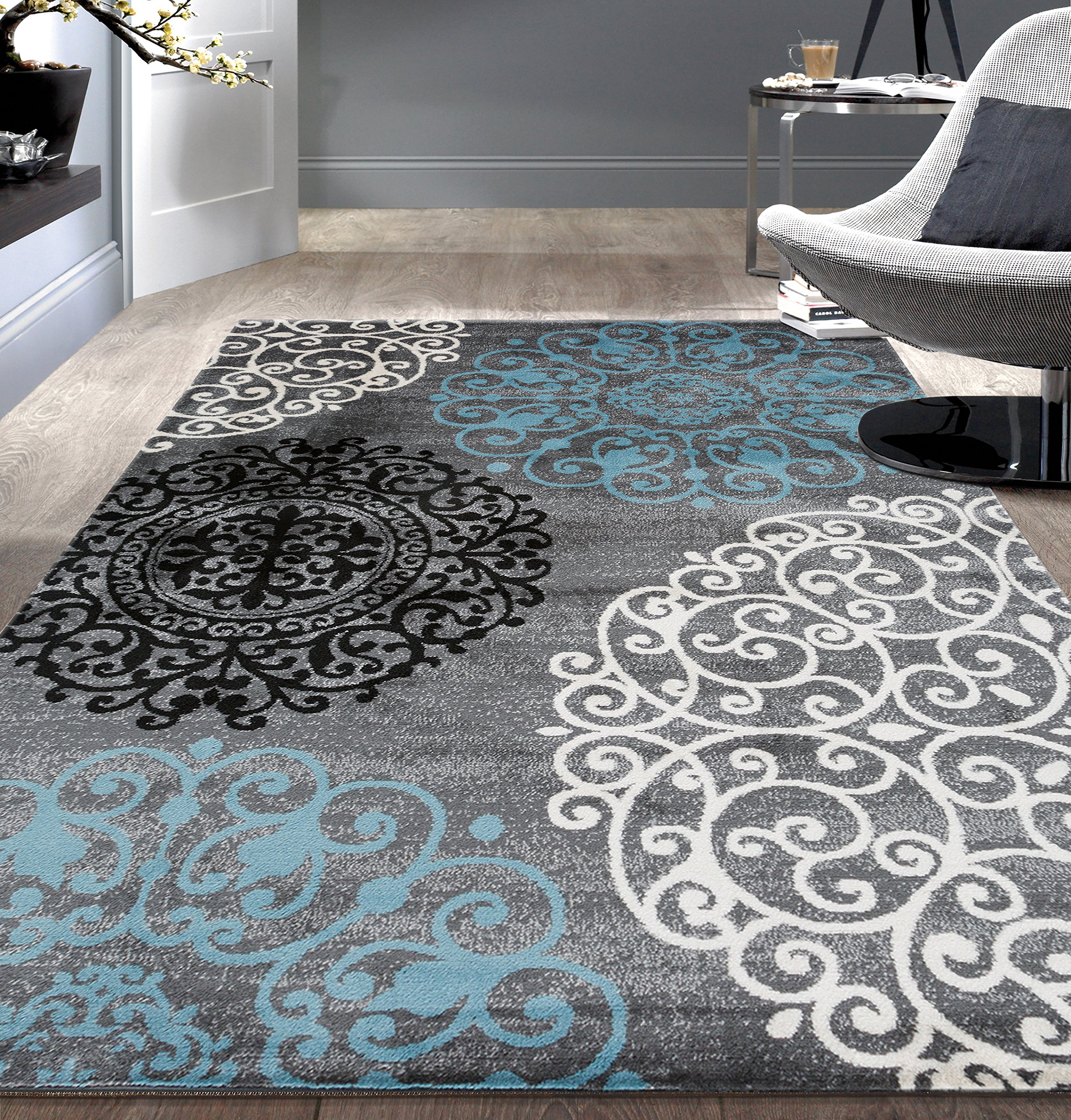 Contemporary Modern Floral Indoor Soft Area Rug 7'10'' x 10'2'' Gray by Rugshop