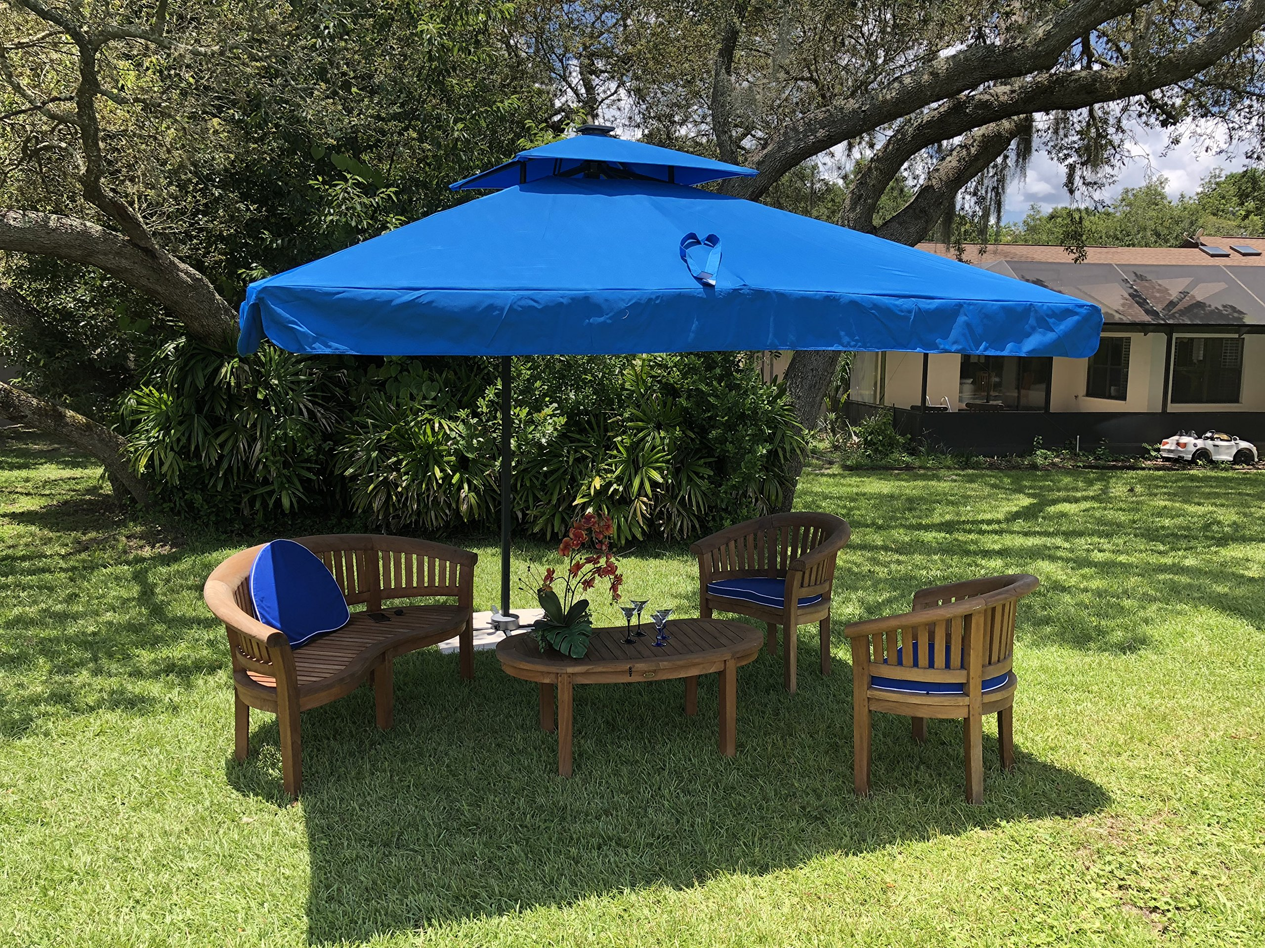 10-Foot Offset Cantilever Solar Powered LED Lighted Outdoor Patio Umbrella Square Parasol Infinite Tilt Position with Cross Base Yellow - Solar Powered LED Lights included XL 10' x 10' Canopy provides maximum shade coverage area 360° Rotation and Full Tilt - shades-parasols, patio-furniture, patio - A15Ag9qIXHL -