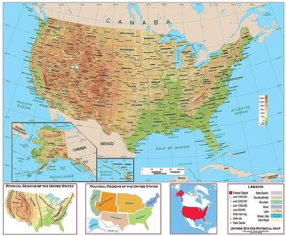 Amazoncom Academia Maps Us Physical Wall Map Fully Laminated - Us-map-legend