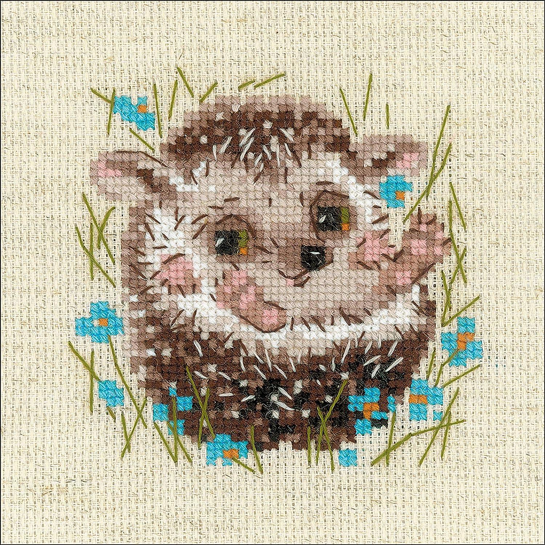motivo: piccolo riccio Riolis 1753 multicolore Schema punto croce in cotone 1313 cm