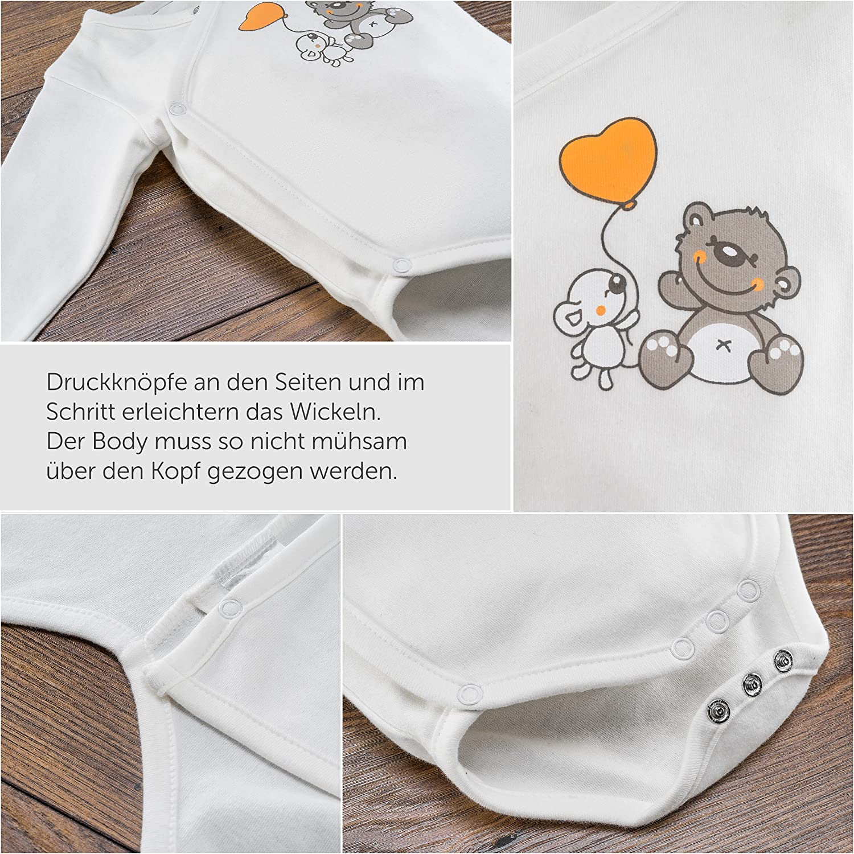 Body Incrociati a Maniche Lunghe Bianco e Beige Set di 2 Body per Neonati con Orsetti Jacky Unisex 100/% Cotone /Öko-Tex