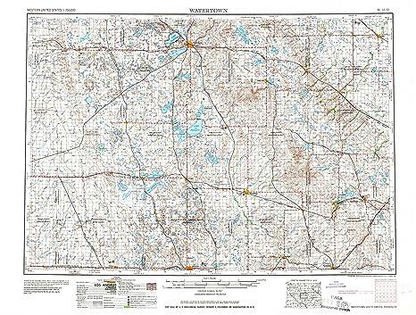 Amazon.com : Watertown SD topo map, 1:250000 scale, 1 X 2 Degree ...
