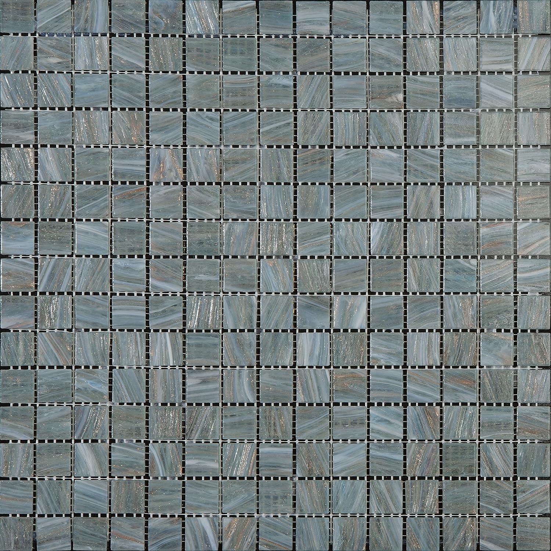 Mosaico de Vidrio en Malla DEC-74291AXU499, Gris, 4 mm, 32.7 x 32.7 cm, Set de 10 Piezas Decostyle